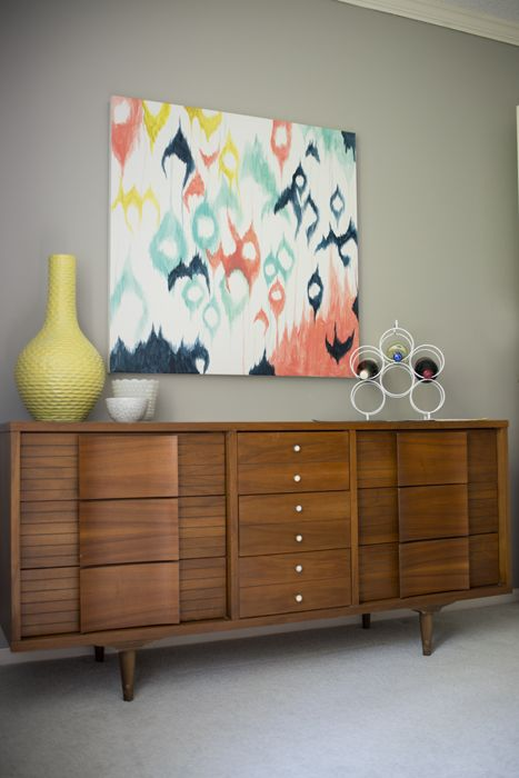 Large diy ikat painting...some day I am going to try this!