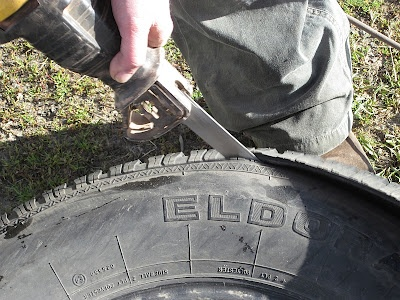 how to cut car tires
