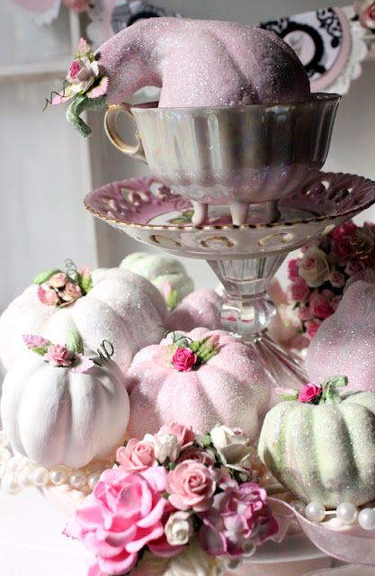 Shabby Chic glittery pumpkins and gourds