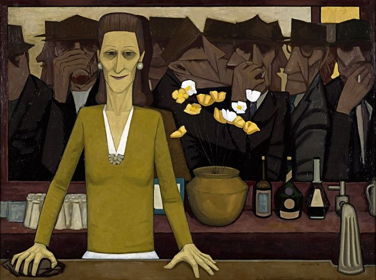 John Brack (1920 - 1999) The bar Oil on canvas, 1954  National Gallery of Victoria, Melbourne,  Australia  modelled on Manet's A Bar at the Folies-Bergère, and satirised the Six o'clock swill, a social ritual arising from the early closing of Australian bars
