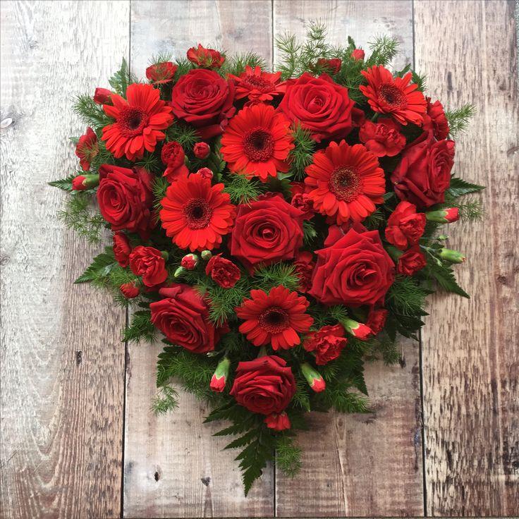 Funeral heart #redroses #funeralflowers #heartsandflowers ammiflowersdevizes