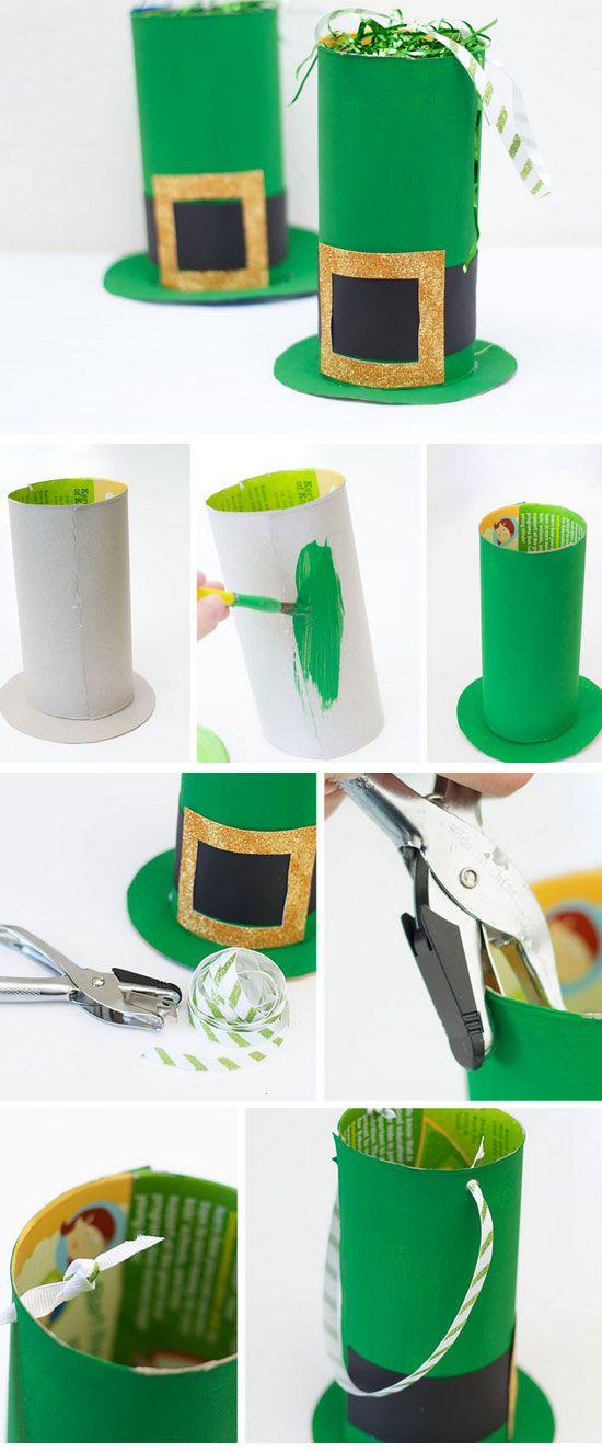 Proyectos para hacer con tubos de papel un sombrero de San Patricio para celebrar la diversidad de nuestra comunidad. Puedes también usar cajas vacías de Cereales y asi reciclas mas.