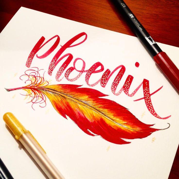Phoenix feather lettering