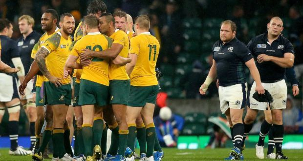 Australia VS Scotland -  Another close nail-biter of a finisher was the Wallabies/Scotland game which saw the boys from Down Under just scrape by with a win courtesy of a last minute (literally 79th minute) penalty. The penalty was questionable, but referee's decisions are final and the Scots had 79 minutes before to put enough space between them and the Wallabies anyway. Australia now face Argentina in their World Cup Semi-Final.