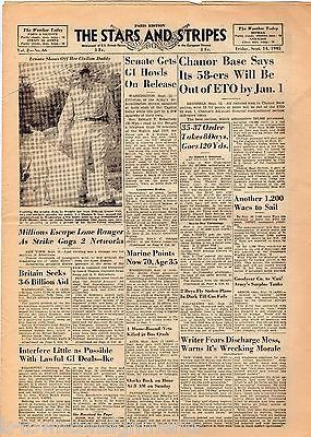 HIDEKI TOJO SHOOTS HIMSELF VINTAGE WWII STARS & STRIPES MILITARY NEWSPAPER 1945