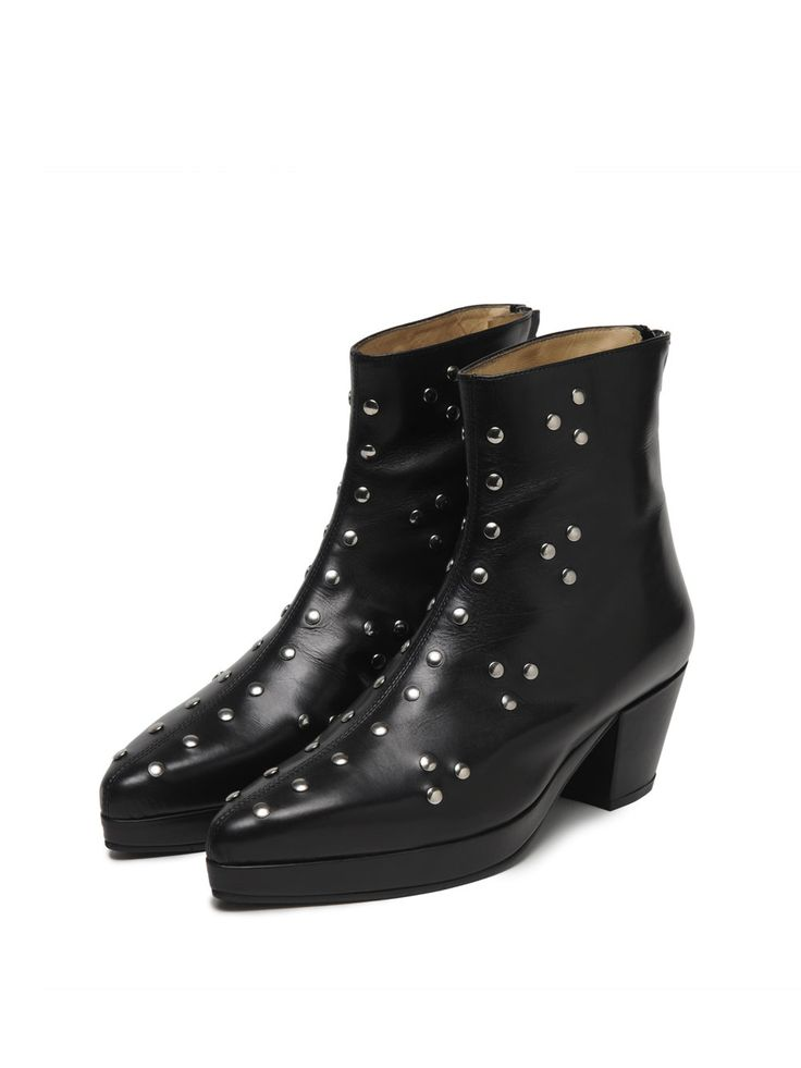 Rani Bageria Eco Ankle Boots are crafted from chrome-free vegetable tanned leather and are embellished with metal studs. The leather-covered block heel and platform add a hint of lift without compromising comfort.  * Heel measures approximately 50mm / 2 inches * Rubber sole on outsid