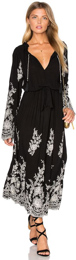 Long Black Maxi Dress with Flared Sleeves & Floral Design | MISA Los Angeles Gabrielle Dress