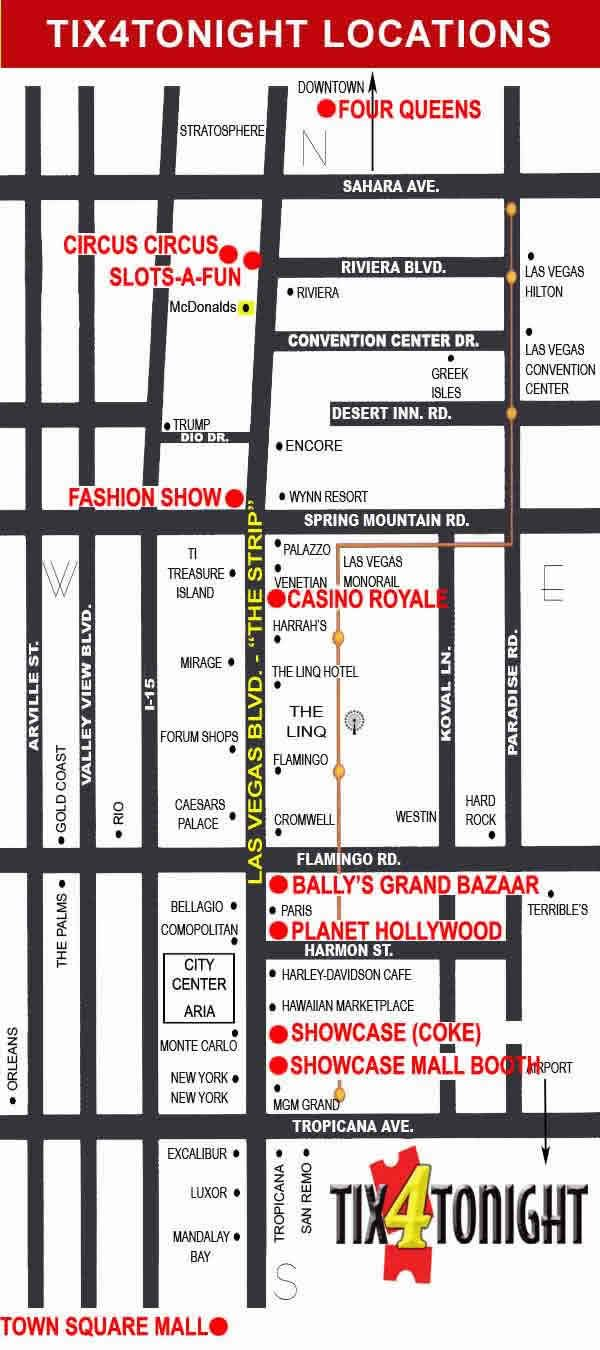 Las Vegas Strip Map from Tix4Tonight Half Price Ticket Booth