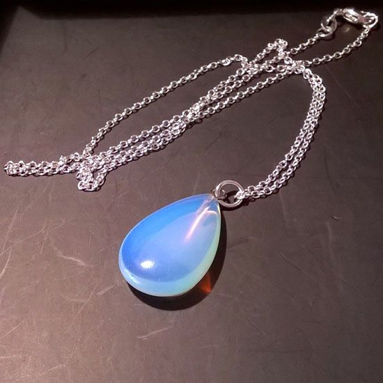 PENDANT MOONSTONE TEAR DROP SILVER with Moonstone Opal in Tear Drop Shape 24mm and Silver 925 Chain | HANDMADE JEWELRY | Crystal Pepper