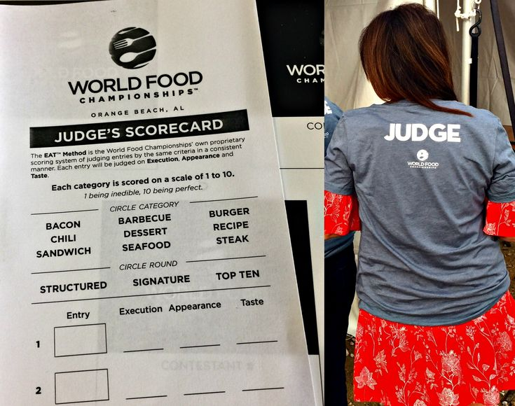 How to Judge a Food Competition using the EAT Method. I'm officially certified. Judges scorecard at World Food Championships to judge food competition
