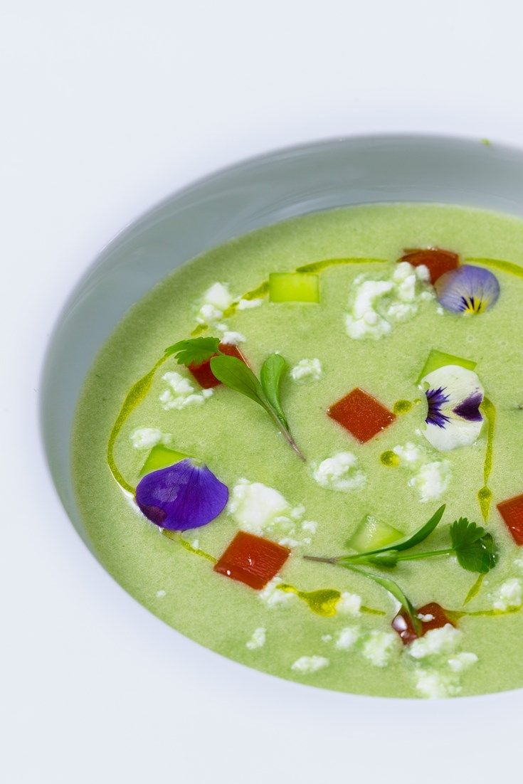 Andy Waters showcases the exquisite flavour of cucumber in his beautiful starter recipe. This easy soup recipe is served chilled, making it perfect for the summer.