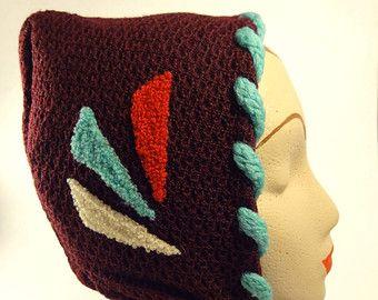 Vintage Ladies Winter Hat Deep Burgundy, Bright Trim, Ties at Chin