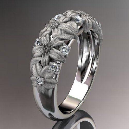 white gold diamond floral wedding ring