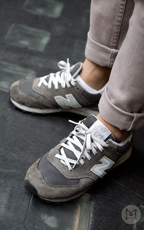 new balance 574 grey silver on feet