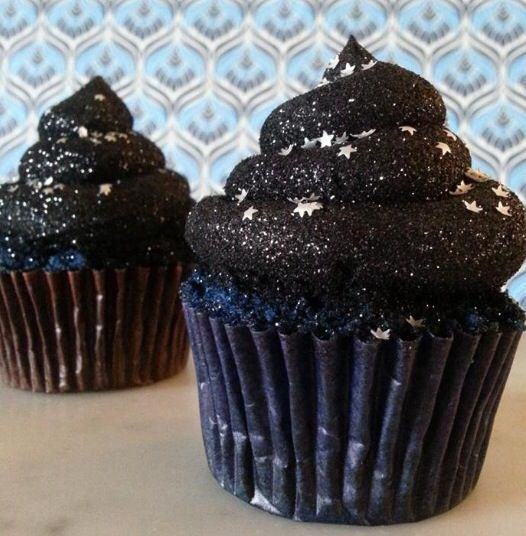 "Black starry cupcakes for an ""Under the Stars movie Night"" birthday party!!"