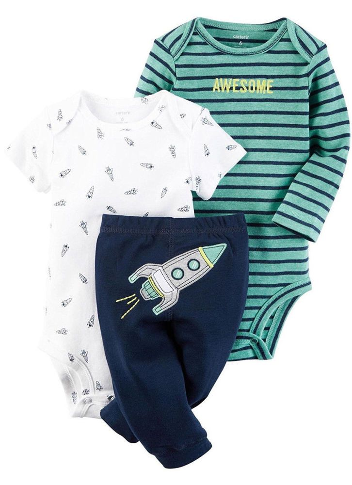 Carter's Baby Boys' 3 Piece body suit and pants (Short Sleeve) Set 9 Months NWT #Carters