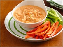 HEALTHY Buffalo Chicken Dip - Hungry Girl Version.  You all keep asking about the dip I served at the bridal shower...here it is!