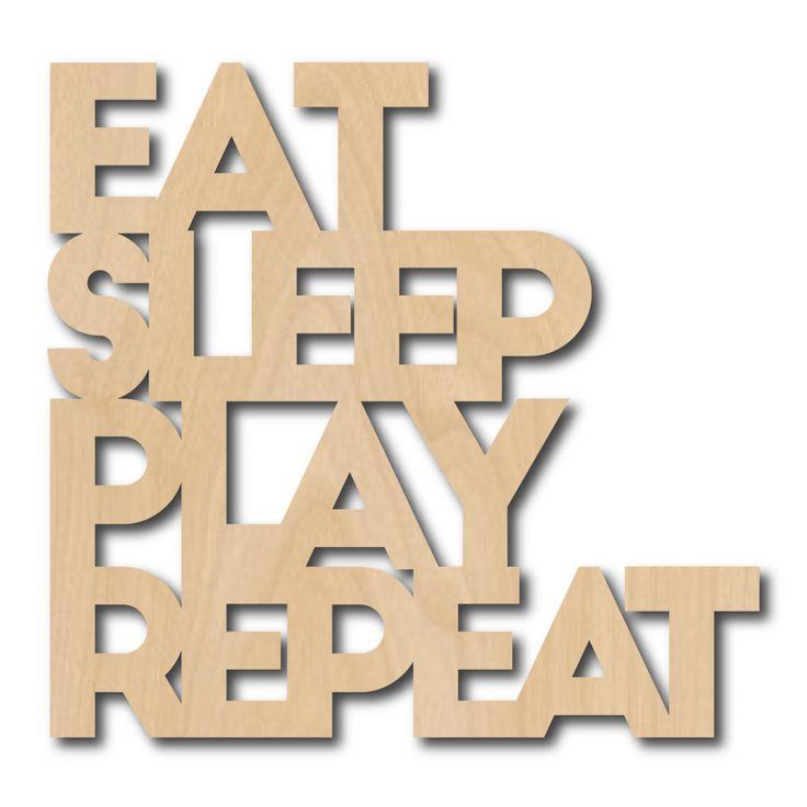 Muurdeco EAT SLEEP PLAY REPEAT Muurdeco quote EAT SLEEP PLAY REPEAT bestaat uit 3mm dik berkenplex en staat heel hip op elke kinder- speelkamer. Licht, strak en makkelijk neer te ze...