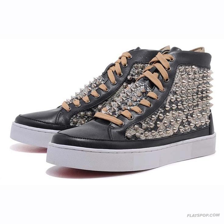 Christian Louboutin Black Snake Pattern High Upper Mens Sneakers. Red Bottom  ...