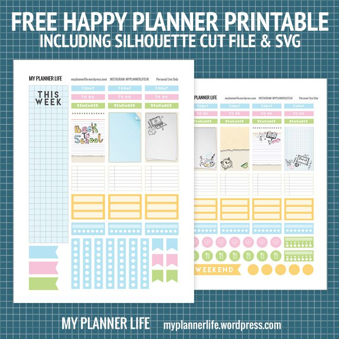 Free Printable Back to School Planner Stickers {including Silhouette Cut Files & SVG} from My Planner Life