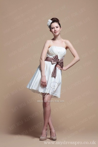 A-line ivory Strapless Knee-length Satin Evening Dress ruo_0011  http://www.mydresspro.co.uk/194-09-2012