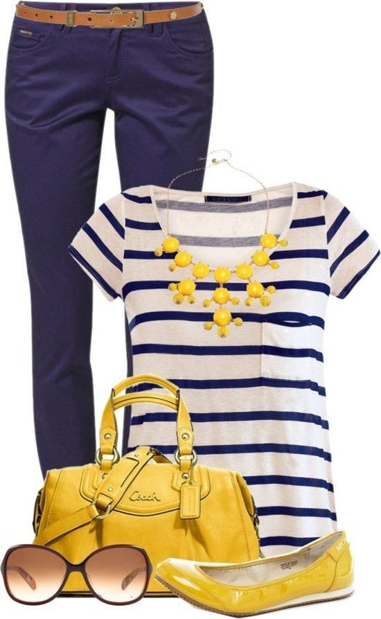 Cute spring outfit navy with yellow accent...skip the shoes and purse