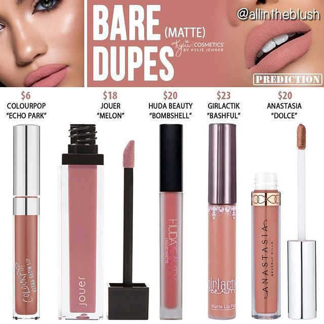 "BARE DUPES I can't promise these will be identical (see ""prediction"" stamp on top right), but based on comparing swatches of these to Kylie's, I found them to be pretty close! Please let me know what shade from the Send Me Nudes bundle you want to see duped next!  More details and swatches are on allintheblush.com  #allintheblush #makeupslaves #trendmood #vegas_nay #makeup #beauty #hudabeauty #slave2beauty #insta_makeup #norvina #glamrezy #amrezy #makeupartist #motd #mua #makeupaddict..."