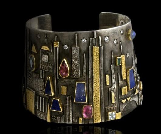 Cuff | Linda Ladurner.  Gold, silver with precious and semi precious stones.