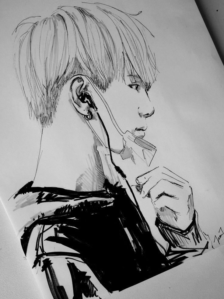 Suga fan art | Bts drawings, Kpop drawings, Drawings