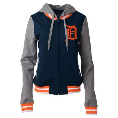 Detroit Tigers 5th & Ocean by New Era Women's Opening Night French Terry Full-Zip Raglan Hoodie - Navy