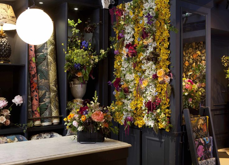 Our flower wall and handbag inspired by House of Hackney prints for HoH BLOOMroom #SpecialProjects #Flowers #Design #London