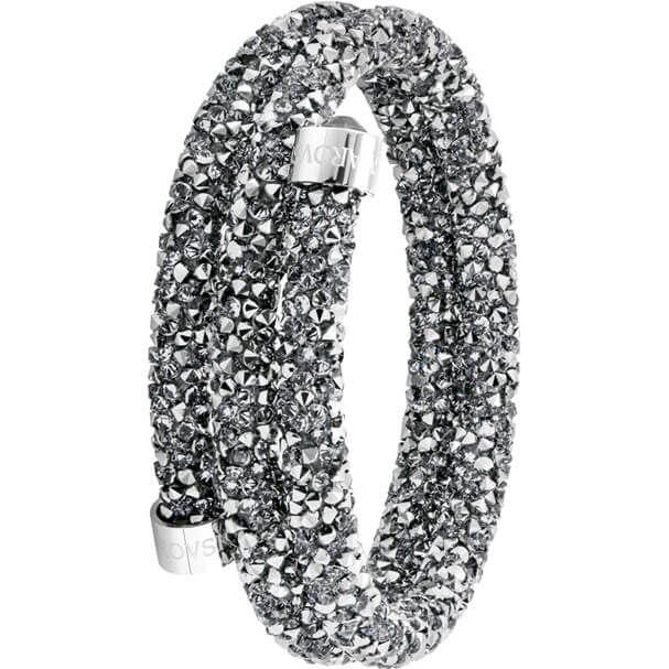 Bracelet-jonc double Crystaldust, gris, acier inoxydable ...