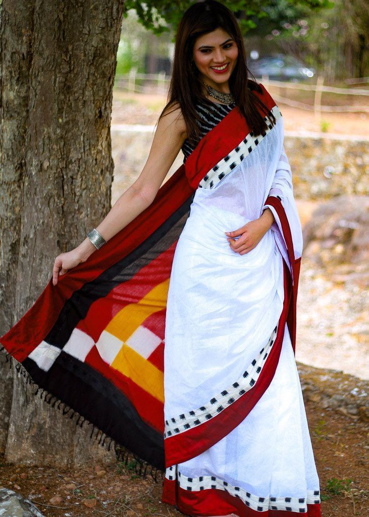 Saree - White Chanderi With Ikat Pallu & Border