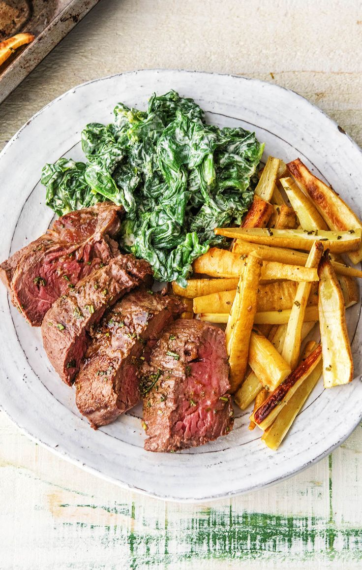Butter-Basted Sirloin Steak with Parsnip Wedges and Creamed Spinach – HelloFresh