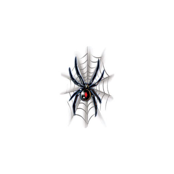 Black Widow Spider On Web Halloween Costume Makeup Temporary Tattoo ($0.74) ❤ liked on Polyvore featuring spider and tattoo