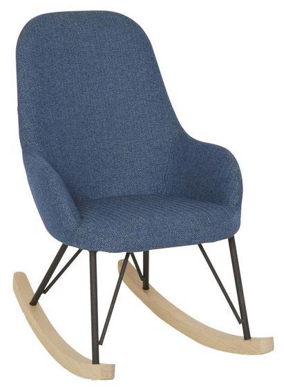 VERONA Gungstol Junior textil/metall trä Blå fiskbensmönstrad 43x62x66 2