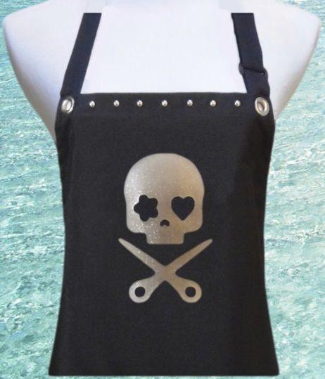 Skull and Scissors hair stylist apron from TrendySalonAprons.com