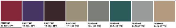 Pantone -Glamour:The palette is sleek and sensuous and is reminiscent of the art deco area interpreted with contemporary influences.  Colours reflect the mood of the bygone era, and include Rio Red, Monaco Blue, Tap Shoe, Chinchilla, Moon Mist, and Jasper.  To add glimmer is Silver and Champagne Beige.