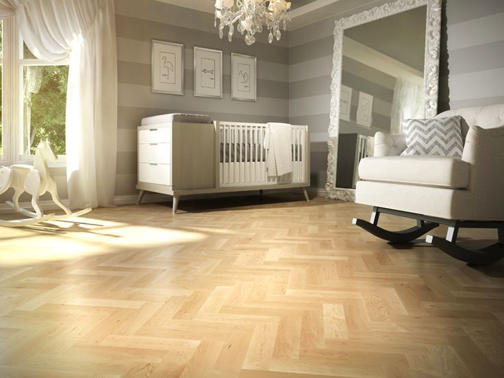 Add an Herringbone hardwood flooring in this beautiful nursery and you'll change the look! Lauzon Flooring FSC-Certified Hard Maple hardwood flooring. A perfect natural hardwood flooring. Discover Pure Genius, Lauzon's new air-purifying smartfloor. #FSC #PureGenius #airpurifying #smartfloor #hardwoodflooring #interiordesign #homedecor #artfromnature