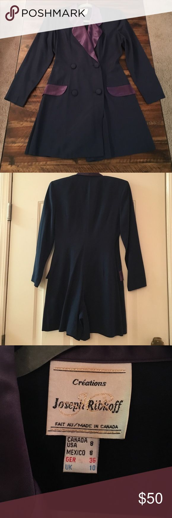 Super cute Vintage Tuxedo jacket romper Super cute 80's Vintage Tuxedo jacket romper. Navy exterior with purplish satin lapels. Appears like a tuxedo mini dress but is a romper from the back. So 80's and so cute! Joseph Ribkoff Dresses Mini