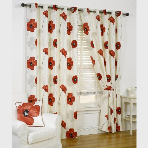Kitchen Curtains Amazon Co Uk: Opium Poppy Floral Design Fully Lined Readymade Eyelet