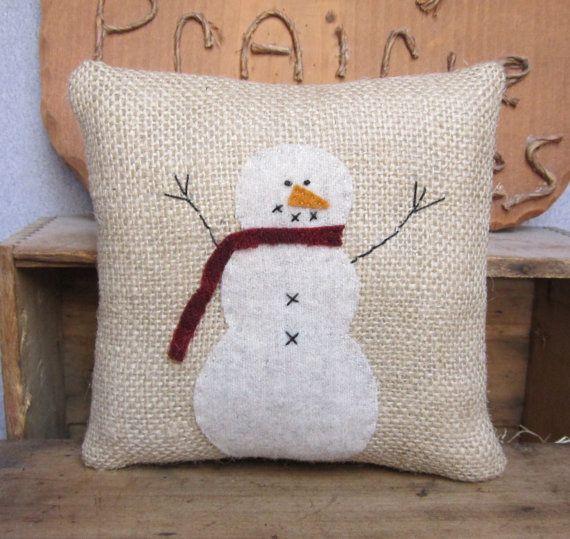 Wool Winter Christmas Snowman Burlap Pillow by CherryPiePrimitives
