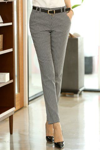 Chic Stye Straight Leg Houndstooth Pockets Women's Pants