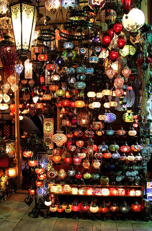 Lamp store at Grand Bazaar, Istanbul, Turkey. The Grand Bazaar (Turkish: Kapalıçarşı) in Istanbul is one of the largest and oldest covered markets in the world, with 61 covered streets and over 3,000 shops which attract between 250,000 and 400,000 visitors daily. Must go here!