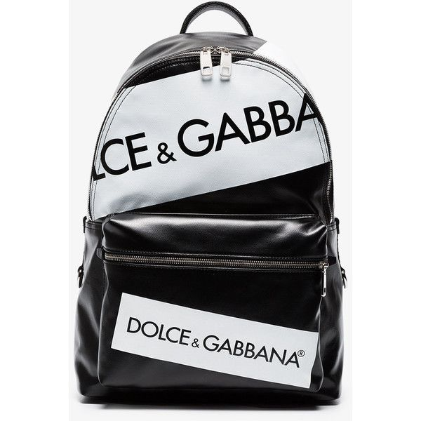 dc87b66d169 Dolce   Gabbana Logo Print Leather Backpack (4,085 AED) ❤ liked on Polyvore  featuring men s fashion, men s bags, men s backpacks, black and mens le…