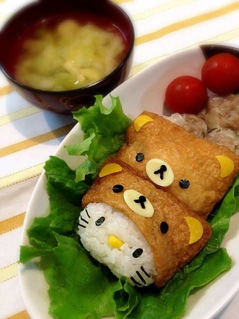 Rirakkuma & Hello Kitty inari sushi aww so cute!