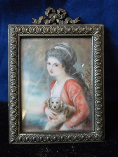 "Antique Portrait Miniature on ""Faux Ivory"" Lady Hamilton Very Pretty 