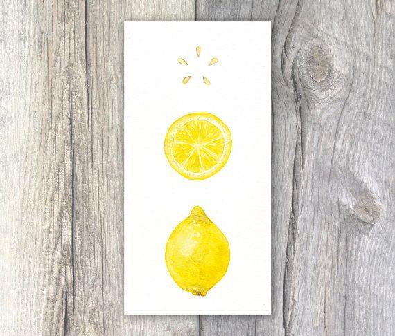 Citron aquarelle peinture cuisine Art Cafe Decor 5 x 10 pouces Print - décoration de cuisine