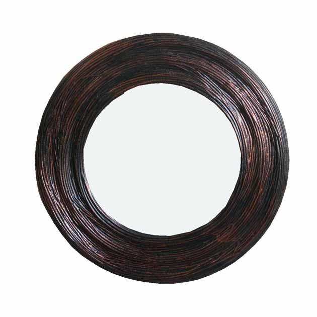 Καθρέφτης Στρογγυλός Καφέ/μαύρος 49εκ