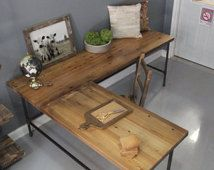 L Shaped Desk, Wood Desk, Pipe Desk, Reclaimed Wood, Industrial Desk